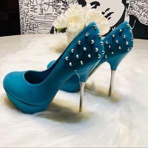 Shoe Dazzled Spike Studded Heels Sz.5.5 New